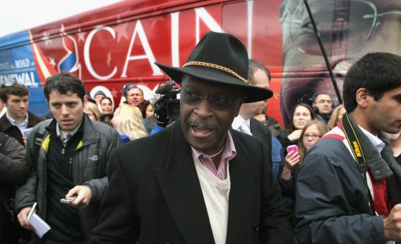 Republican presidential candidate businessman Herman Cain following a campaign stop in Ypsilanti, Mich.