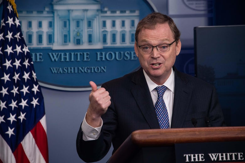 Kevin Hassett, Chairman of the Council of Economic Advisers, speaks during a briefing at the White House in Washington, DC, on September 10, 2018. (Photo by NICHOLAS KAMM / AFP)        (Photo credit should read NICHOLAS KAMM/AFP/Getty Images)