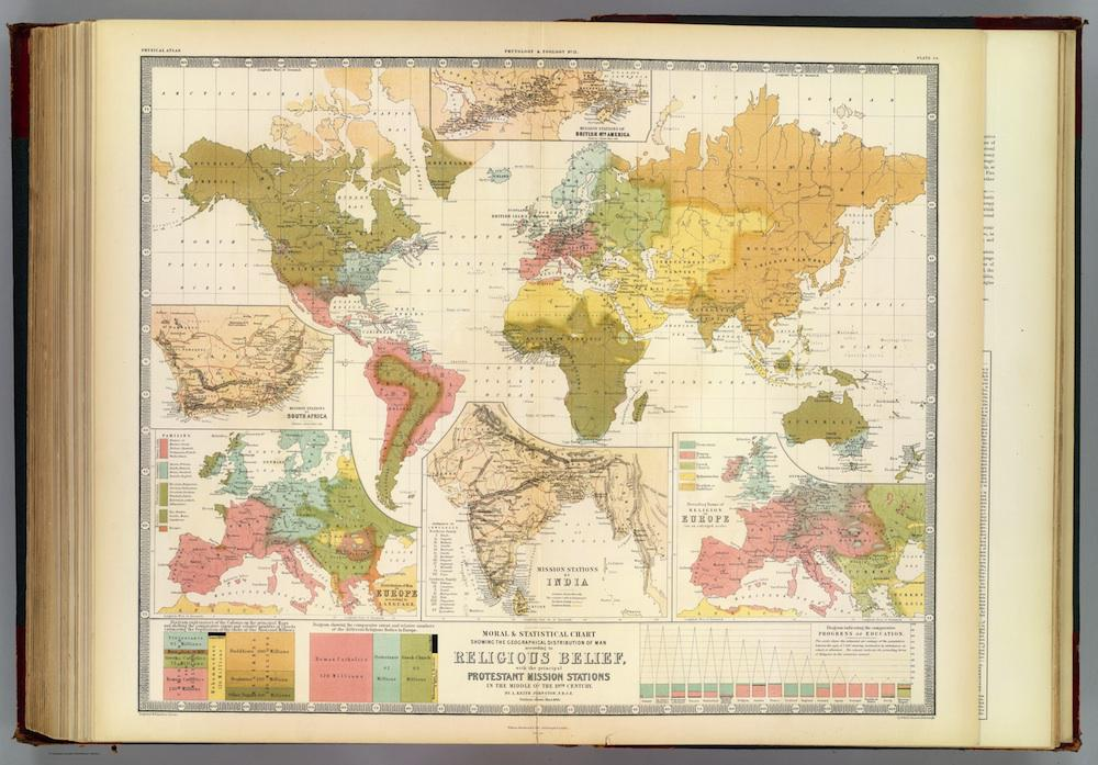 Map Of The World In Detail.Religion Map Mid 19th Century Scottish Map Of World Religion