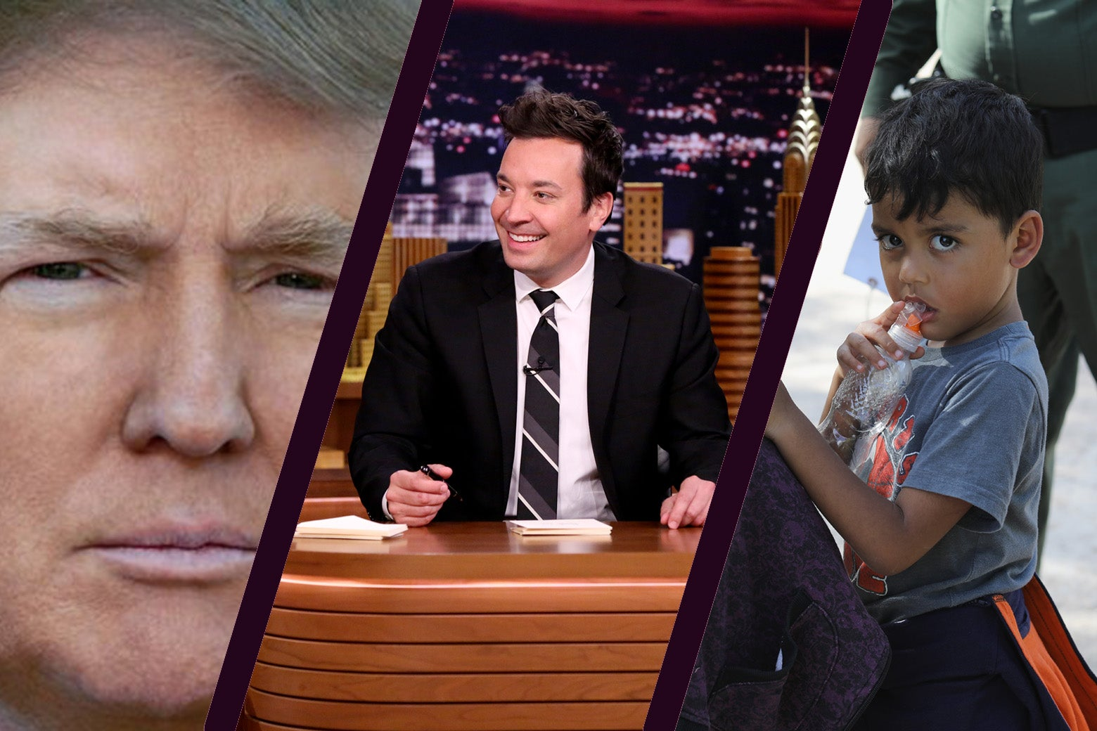 A montage showing Donald Trump's Twitter portrait, Jimmy Fallon at his desk, and an unidentified migrant child being taken into custody by Customs and Border Patrol in McAllen, Texas.