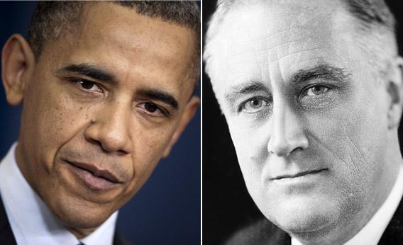 Presidents Barack Obama and Franklin D. Roosevelt.