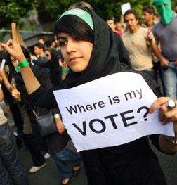 A supporter of defeated Iranian presidential candidate Mir Hossein Mousavi.