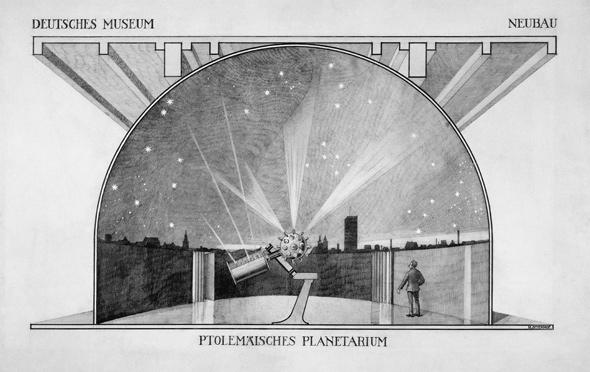 Drawing of the projection planetarium in Munich, ca. 1923.