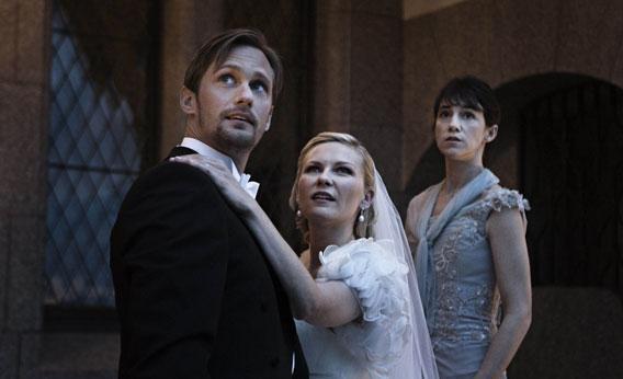Alexander Skarsgaard, Kirsten Dunst and Charlotte Gainsbourg in Melancholia.