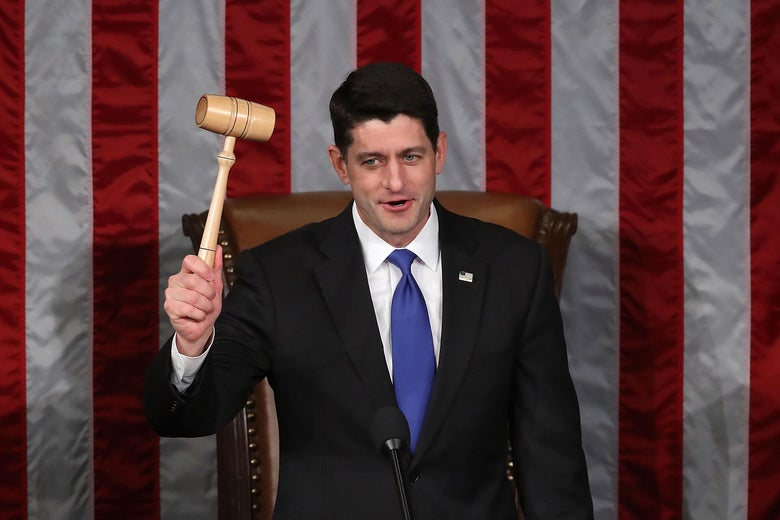 WASHINGTON, DC - JANUARY 03: Newly re-elected House Speaker Paul Ryan (R-WI), holds the Speakers gavel during a session in the House Chamber, January 3, 2017 in Washington, DC. Today the House of Representatives reconvened with the start of the 115th Congress.  (Photo by Mark Wilson/Getty Images)