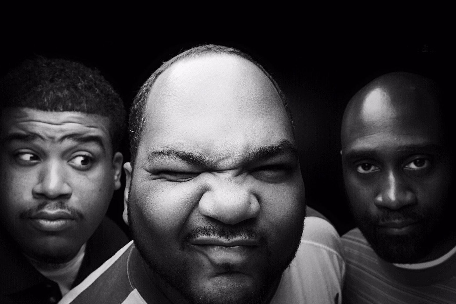 A black-and-white photo of the members of De La Soul.