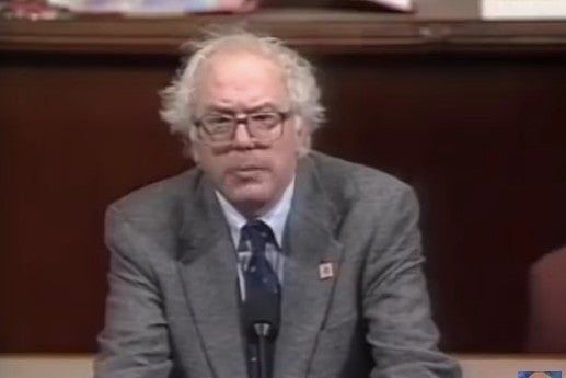 Screenshot from video of Bernie Sanders speaking about the Persian Gulf war on CSPAN in 1991.