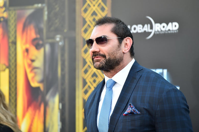 Actor Dave Bautista attends the premiere of  'Hotel Artemis' in Westwood, California.