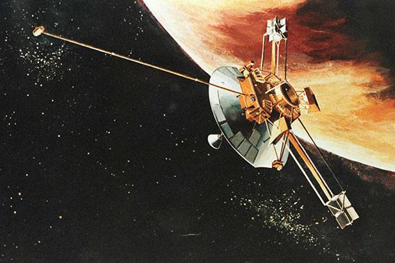 An artist rendition of the Pioneer 10 spacecraft as it passes the planet Jupiter.