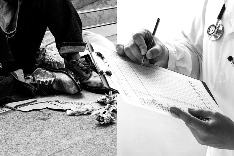 Side-by-side photo illustration of a homeless person sitting on the street and a doctor making a notation on a patient chart.