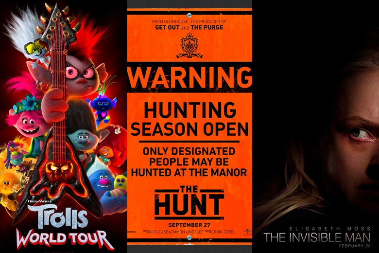 Posters for Trolls World Tour, The Hunt, and The Invisible Man
