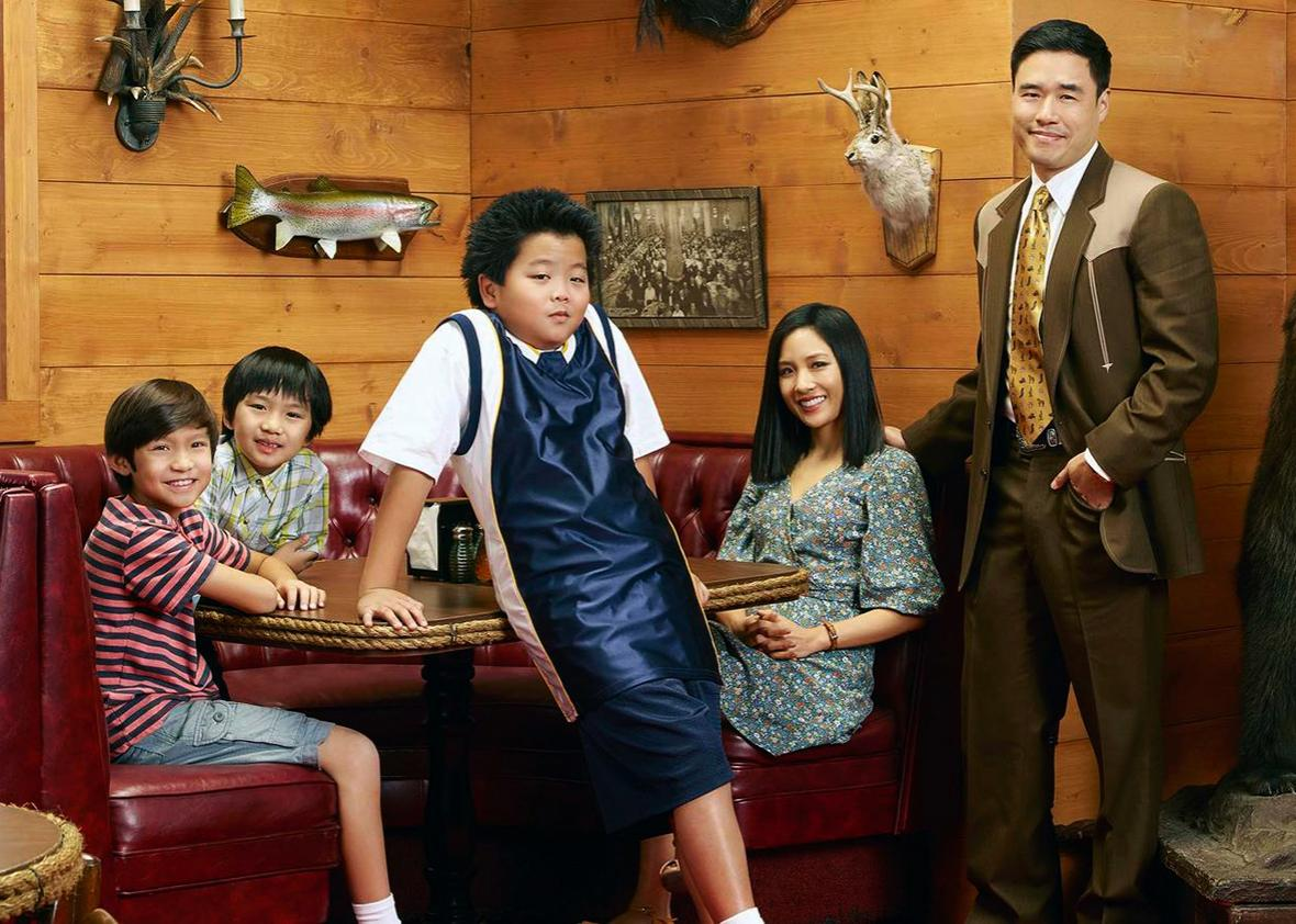 Randall Park, Constance Wu, Forrest Wheeler, Ian Chen, and Hudson Yang in Fresh Off the Boat
