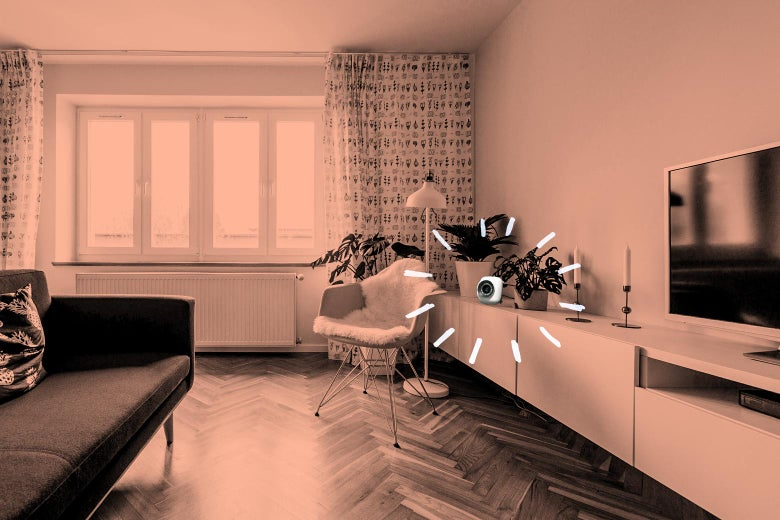 Photo collage of a living room with a hidden camera highlighted.