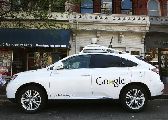 Google'€™s Lexus RX 450H Self Driving Car is seen parked on Pennsylvania Ave. on April 23, 2014 in Washington, DC.