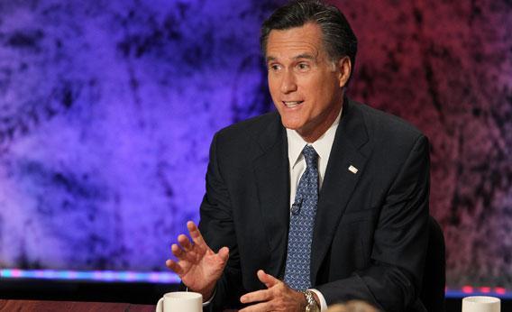 Former Massachusetts Gov. Mitt Romney speaks during the Republican Presidential debate hosted by Bloomberg and the Washington Post on October 11, 2011.