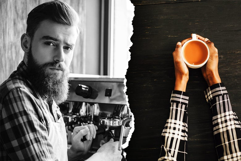 Photo illustration: a man you might implicitly associate with being a barista side-by-side with an image of a cup of coffee.