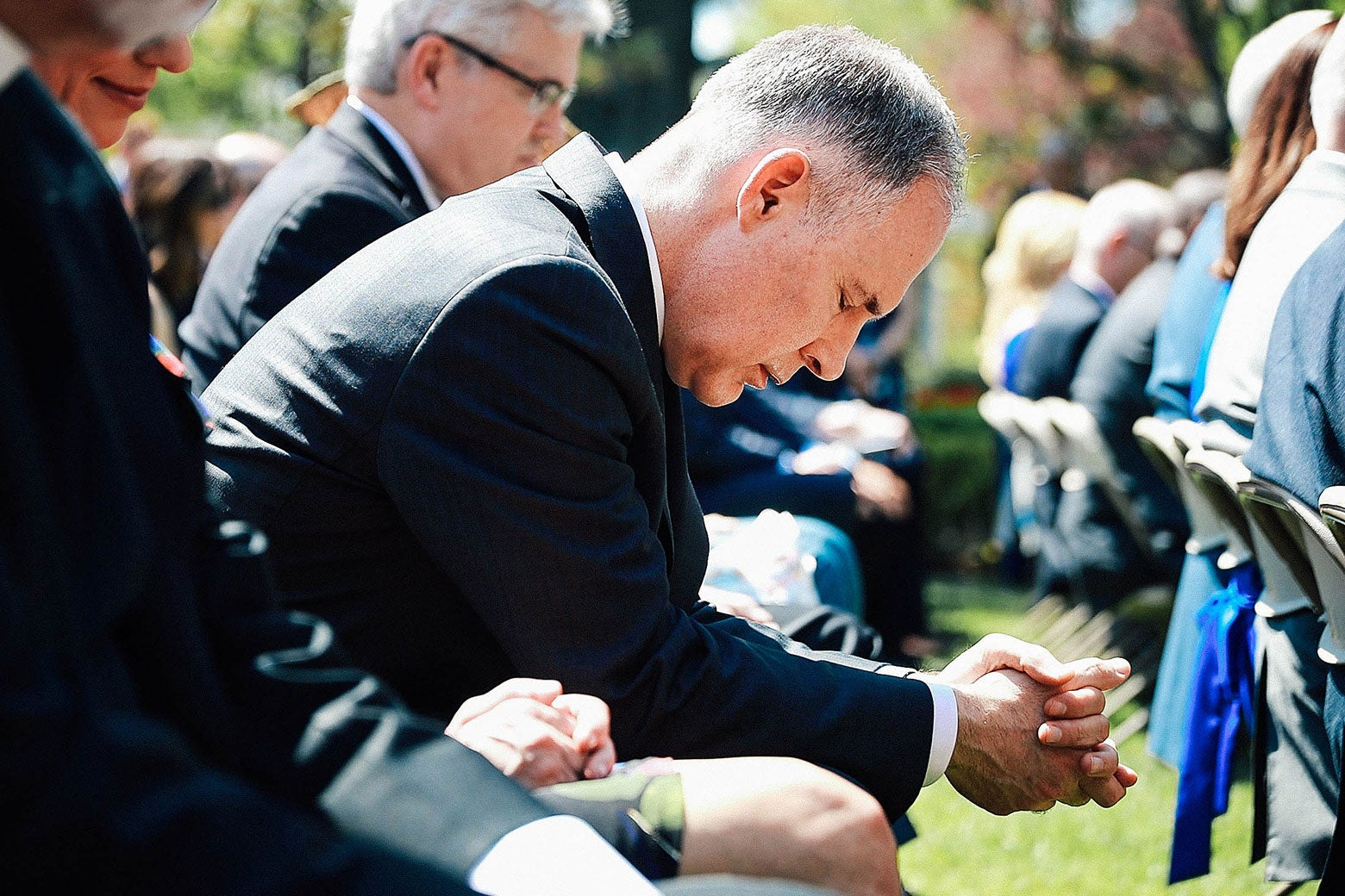 Environmental Protection Agency Administrator Scott Pruitt bows his head in prayer during an event to mark the National Day of Prayer on May 3 in Washington.