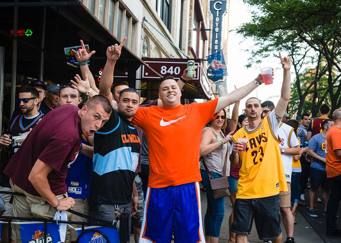 Cleveland Cavaliers fans gather outside of Paninis Bar & Grill on the corner of E. 9th and Huron prior to game 6 of the NBA Finals on June 16, 2015 in Cleveland, Ohio.