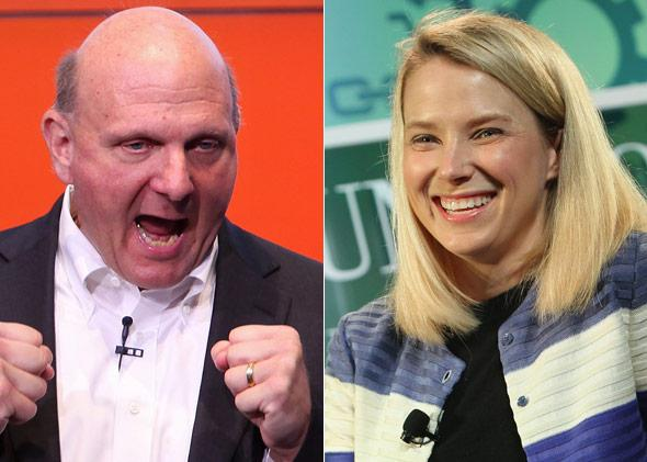 Microsoft Chief Executive Steve Ballmer and Yahoo CEO Marissa Mayer.