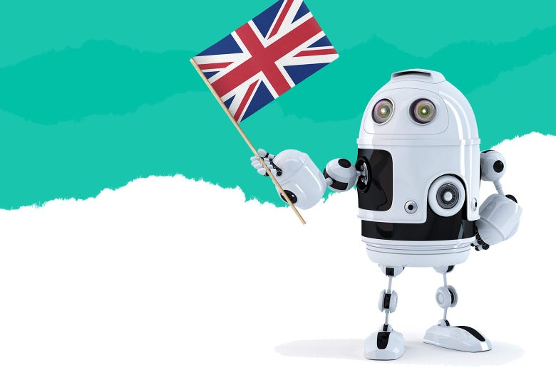 A principled-looking robot holds up a U.K. flag.