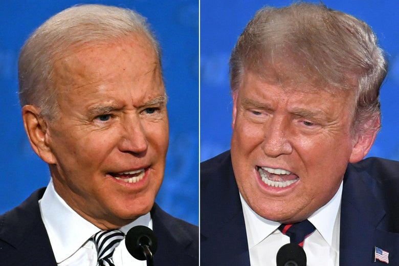 Joe Biden and Donald Trump speaking during the first presidential debate at the Case Western Reserve University and Cleveland Clinic on September 29, 2020, both with their mouths open.