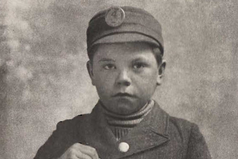 A little kid in a work uniform, as pictured in a biography of Henry Demarest Lloyd.