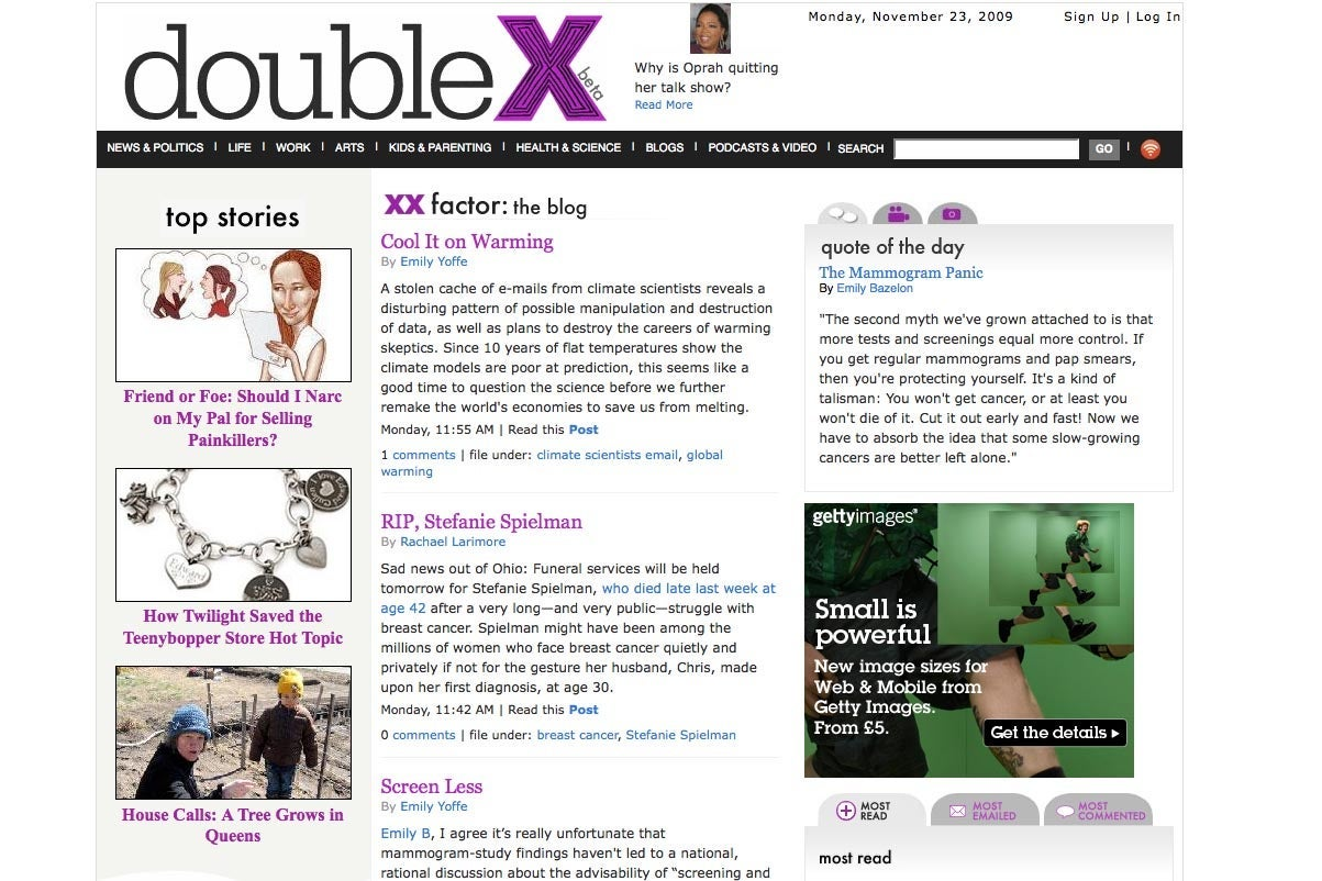 DoubleX home page, 2009.