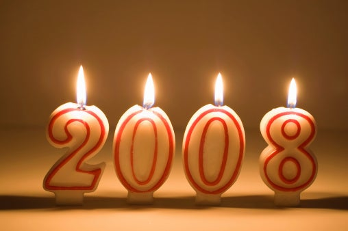 Number candles spelling out 2008.