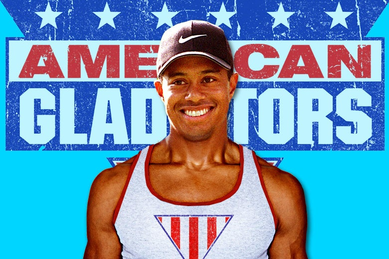 Tiger Woods in American Gladiators spandex, appearing in front of the show's logo