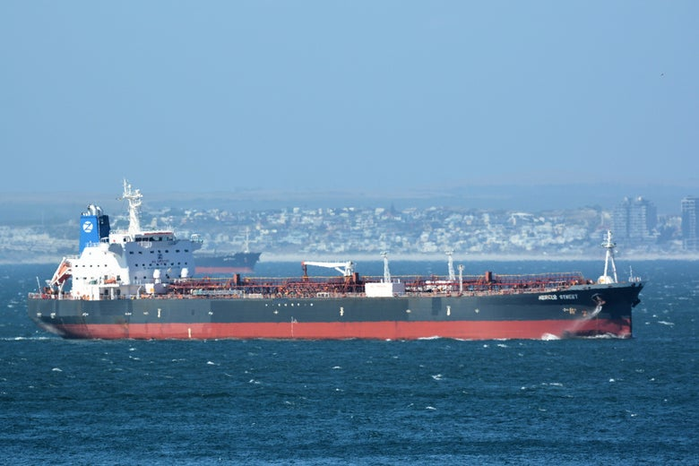The Mercer Street, a Japanese-owned Liberian-flagged tanker managed by Israeli-owned Zodiac Maritime that was attacked off Oman coast as seen in Cape Town, South Africa, December 31, 2015 in this picture obtained from ship tracker website, MarineTraffic.com.