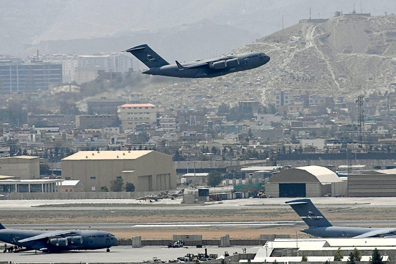 An U.S. Air Force aircraft takes off from the airport in Kabul.