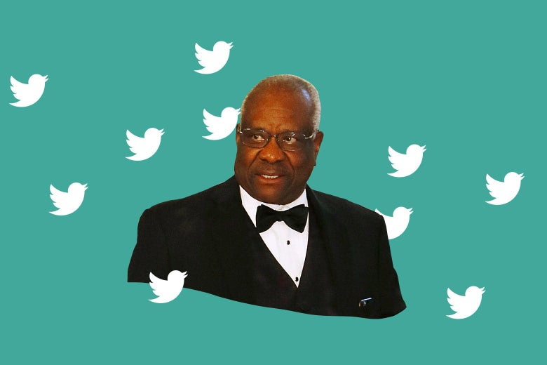 Collage of Clarence Thomas wearing a tux, surrounded by Twitter birds