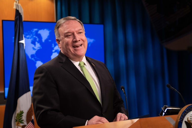 Pompeo speaks at a lectern