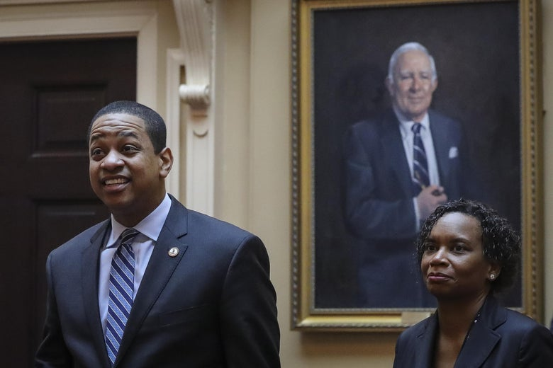 Virginia Lt. Governor Justin Fairfax arrives on the Senate floor at the Virginia State Capitol, February 8, 2019 in Richmond, Virginia.