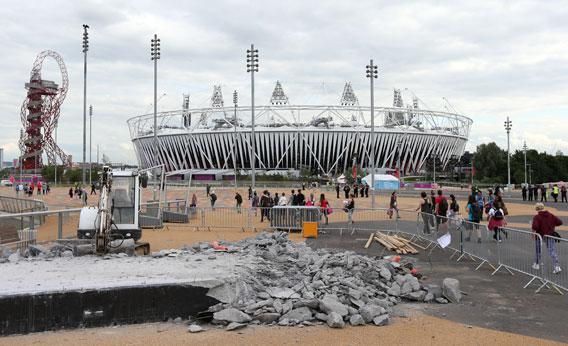A general view of the Olympic Stadium with construction work in the foreground during previews ahead of the London 2012 Olympic Games at the Olympic Park on July 19, 2012 in London, England.