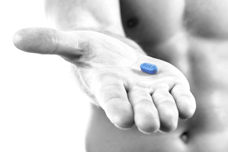 Photo illustration of a shirtless man holding a bright blue PrEP Truvada pill.