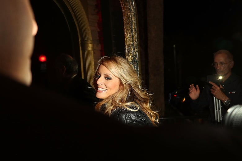The actress Stephanie Clifford, who uses the stage name Stormy Daniels, arrives to perform at the Solid Gold Fort Lauderdale strip club on March 9, 2018 in Pompano Beach, Florida.