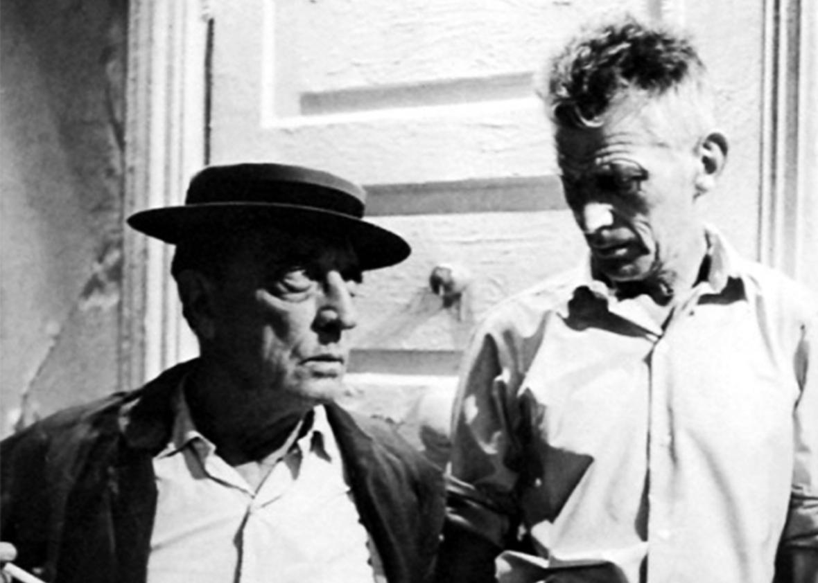 A behind-the-scenes production shot of Samuel Beckett and Buster Keaton making Film.