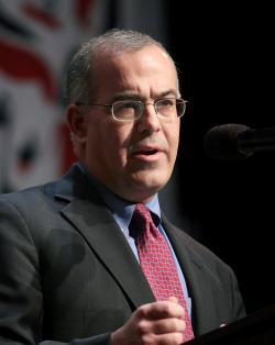 Journalist David Brooks speaks.