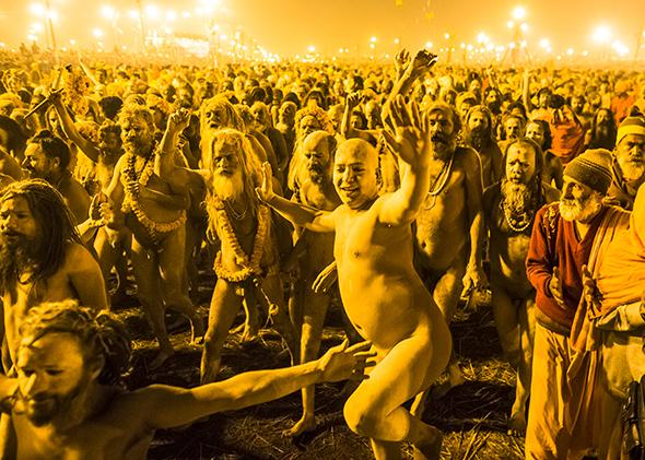 Naga Sadhus, naked Hindu holy men, walk in procession to bathe on the banks of Sangam during the Kumbh Mela on Feb. 10, 2013 in Allahabad, India.