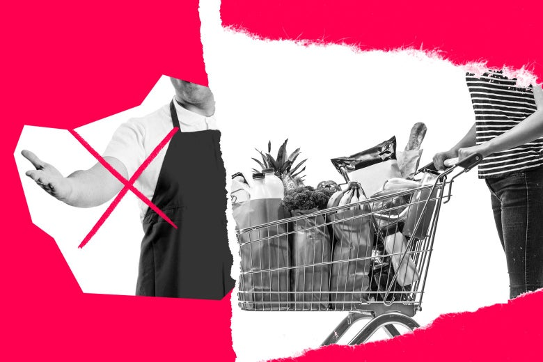 Photo illustration of a grocery store greeter with an X drawn through him as a woman pushes a full grocery cart.