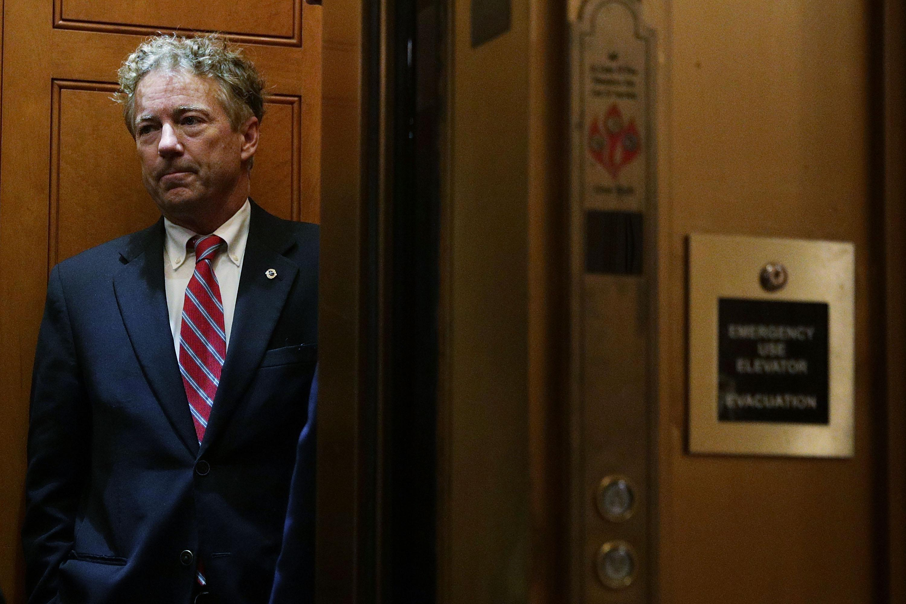 Sen. Rand Paul in an elevator at the U.S. Capitol.