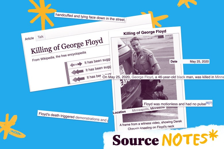 "A collage of images from the Wikipedia page for George Floyd, with a logo that says ""Source Notes"""