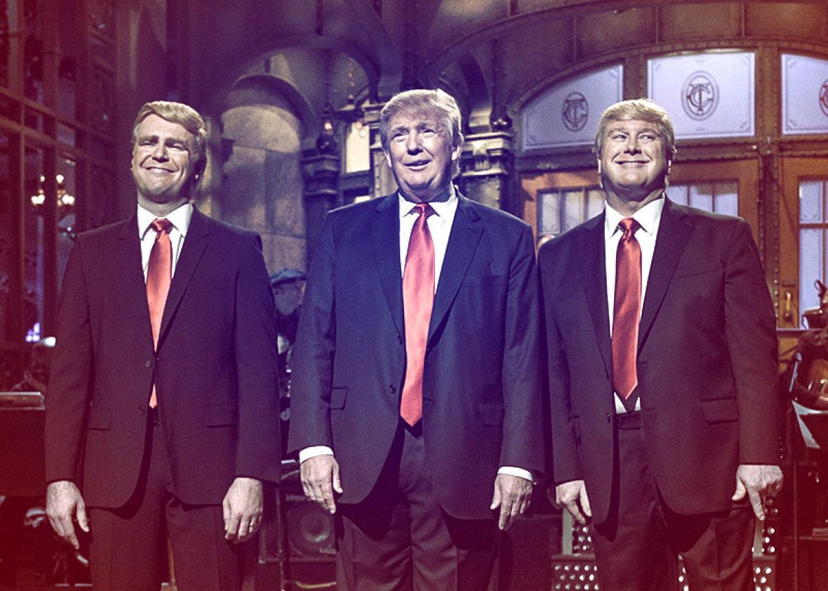 Donald Trump, and Darrell Hammond during the Saturday Night Live