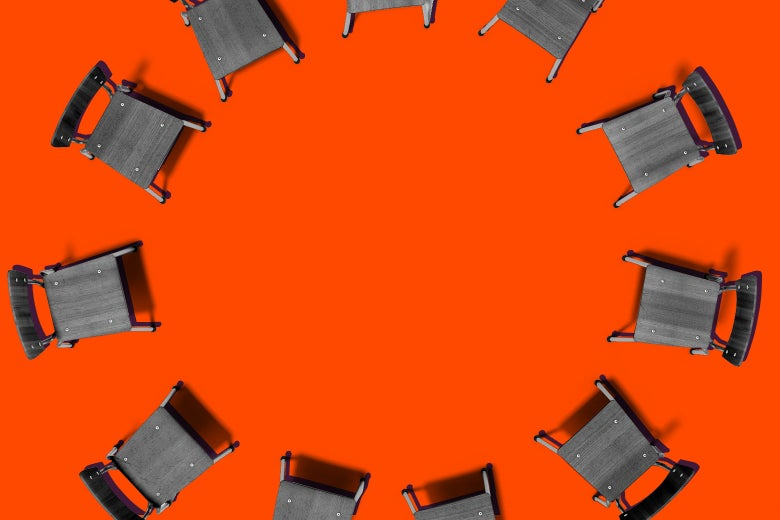 Chairs in a circle for a meeting.