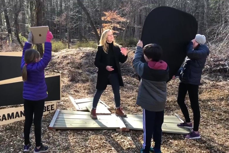 Samantha Bee with her new stage crew, her children.
