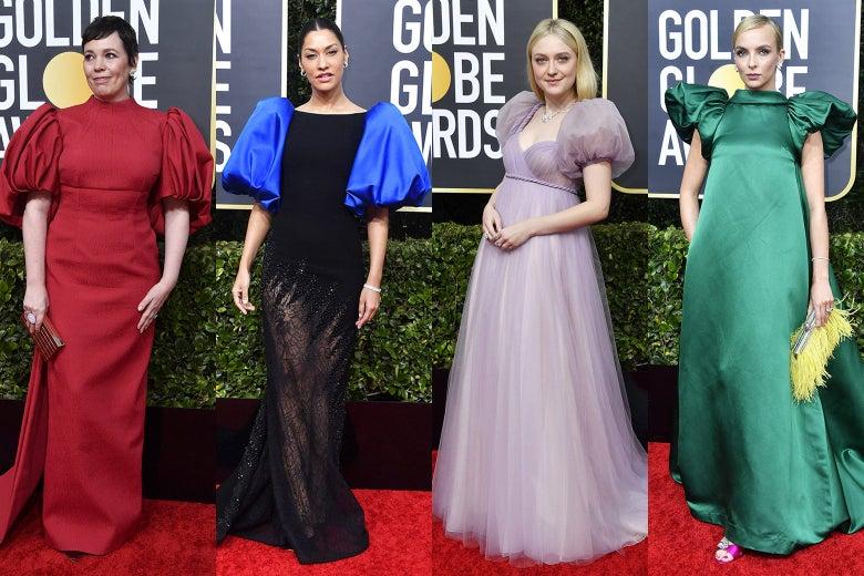 Olivia Colman, Janina Gavankar, Dakota Fanning, and Jodie Comer at the 2020 Golden Globes red carpet.