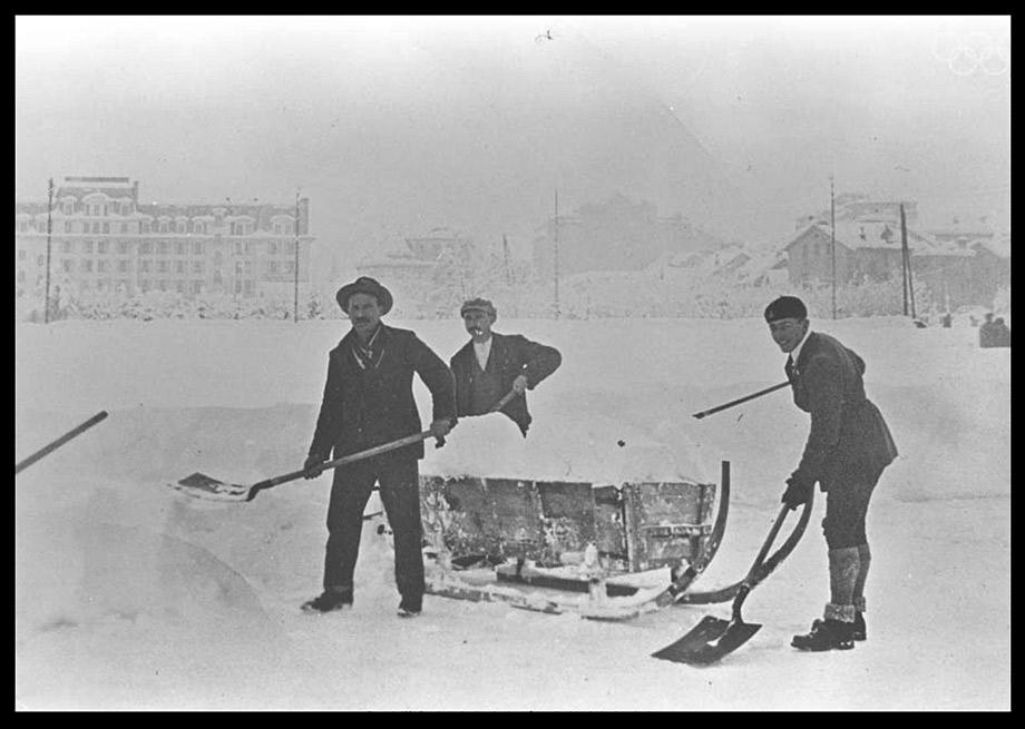 Clearing snow at the Olympic stadium.