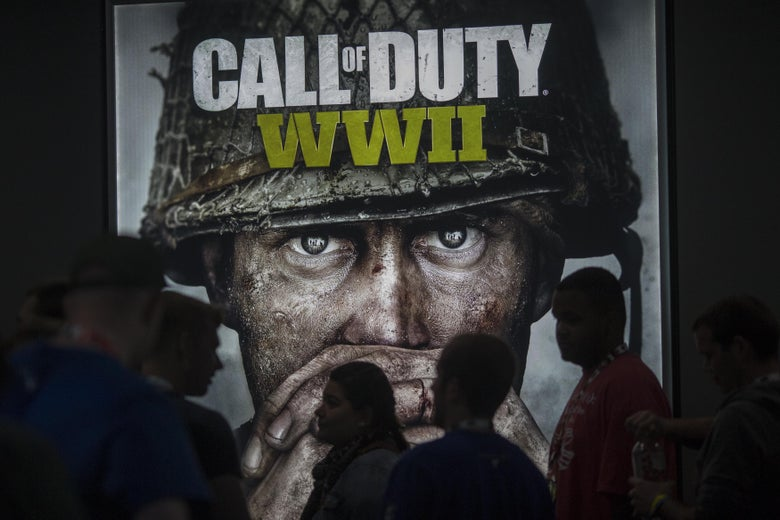 People wait in line of to see a demonstration Call of Duty WWII at the Activision exhibit on opening day of the Electronic Entertainment Expo (E3) at the Los Angeles Convention Center on June 13, 2017 in Los Angeles, California. The computer and video game trade show draws an international crowd of industry members and fans, and runs June 14 through 16.
