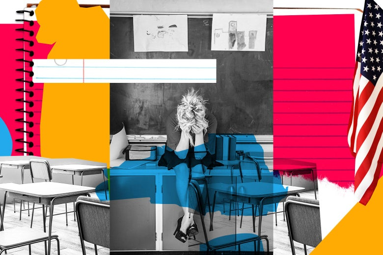 Photo illustration of a teacher sitting on a desk and crying.